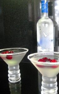 White Out Cosmo: 1 part white cranberry juice  1 part Grey Goose vodka  Juice of ½ of a small lime (use fresh; it makes a difference)  Shake really really well and pour into a chilled martini glass (rimmed with sugar) Garnish with three or four fresh cranberries.