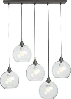 Firefly Pendent Lights by CB2 USA $199.00 - http://www.cb2.com/firefly-pendant-lamp.-overall-24wx6dx29h-canopy-24wx6dx.75h-cords-15-29/s487964 ~    Designed by Slate DesignBlack iron canopy with five black adjustable cordsClear glass shadesFive candelabra style 25W type G bulbs (not included)Accommodates compact fluorescent lightbulbs (not included)Professional hardwire installation recommended