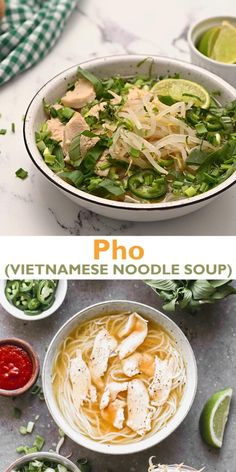 This easy Vietnamese Pho Soup includes rice noodles in a flavorful broth with your choice of meat and topped with fresh herbs and vegetables. It has authentic taste and flavor without all of the work! Kitchen Recipes, Soup Recipes, Chicken Recipes, Cooking Recipes, Shrimp Recipes, Seafood Pho Recipe, Pho Soup Recipe Vegetarian, Pho Soup Recipe Chicken, Bok Choy Recipes