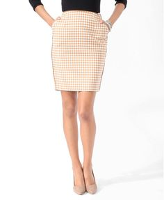 Essential Houndstooth Print Skirt | FOREVER21 - 2017306817