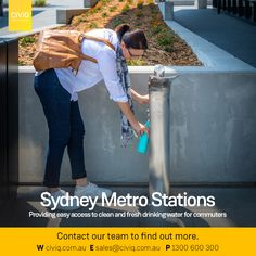 CIVIQ's brand new drinking water station becomes a feature in Sydney metro stations! The Aquafil Elegri is a premium Drinking Fountain & Bottle Refill Station that provides commuters with clean drinking water, which will be especially welcome during the hotter months. It features wheelchair-accessible and has an anti-bacterial bottle refill nozzle, activated through a push button at the rear of the unit. The foot pedal activation adds convenience and hands-free use. Drinking Fountain, Drinking Water, How To Find Out, How To Become, Sydney Metro, Metro Station, The Unit, Hands, Activities