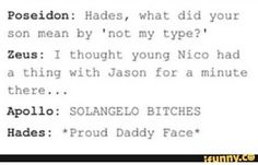 lets be honest all the solangelo shippers be hades and Apollo in this cause I kn. Arte Percy Jackson, Percy Jackson Head Canon, Percy Jackson Ships, Percy Jackson Memes, Percy Jackson Books, Percy Jackson Fandom, Magnus Chase, Hades, Hunger Games