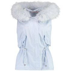 Boohoo Angela Boutique Faux Fur Hood Gilet | Boohoo ($56) ❤ liked on Polyvore featuring outerwear, vests, puffer vest, bomber vest, blue puffy vest, puff vest and blue puffer vest