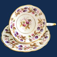 Royal Stafford Golden Bramble Bone China Footed Teacup and Saucer Berries and Gold Leaves Vintage Dishes, Vintage Glassware, Royal Stafford, Bramble, Plum Purple, China Patterns, Cup And Saucer Set, Gold Leaf, Bone China