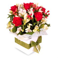 Faith - The Faith is one of our most popular arrangements, loved for its dazzling combination of vivid red and creamy white.