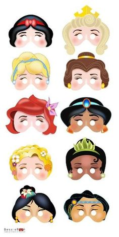 Printable DISNEY PRINCESS masks. Instant Download PDF file. Snow White, Belle, Ariel, Rapunzel, Mulan via Etsy by KRLN