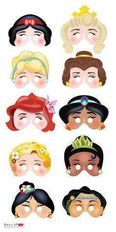 Printable DISNEY PRINCESS masks. Instant Download PDF file. Snow White, Belle, Ariel, Rapunzel, Mulan via Etsy by KRLN