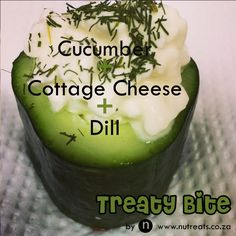 Quick Healthy Snack Cucumber topped with cottage cheese and fresh dill!