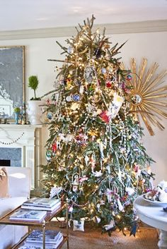 CHRISTMAS BLISS ~ FIFTH AND FINAL-sunburst mirror behind Christmas tree