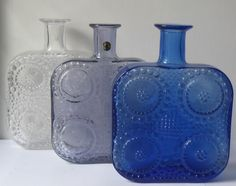 Riihimaen glassworks, Riihmaki Finland, Grapponia designer Nanny Still. Vaseline Glass, Glass Molds, Vintage Bottles, Glass Ceramic, Glass Garden, Carnival Glass, Clean Design, Glass Design, Scandinavian Design