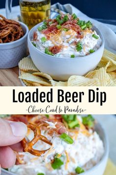 game day food Loaded Beer Dip takes game day snacking to the next level. Creamy beer dip mixed with sharp cheddar, smokey bacon, and fresh green onion. This is a dip you can't miss! Healthy Superbowl Snacks, Game Day Snacks, Tailgating Recipes, Tailgate Food, Game Day Food, Pool Snacks, Best Appetizers, Appetizer Dips, Appetizer Recipes