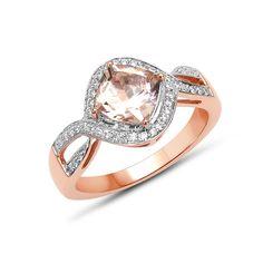 Bague de fiançailles femme en Morganite et Diamants - Bijou de mariage en or rose - Juwelo bijouterie en ligne