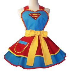 Super Woman Superman Apron Cosplay Apron by WellLaDiDa on Etsy, $60.00