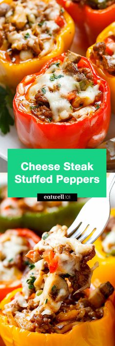Cheese Steak Keto Low-Carb Stuffed Peppers - An easy, cheesy, filling meal that is packed with flavor and delicious ingredients!