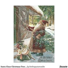 Santa Claus Christmas Tree Sack of Toys Cottage 5x7 Paper Invitation Card