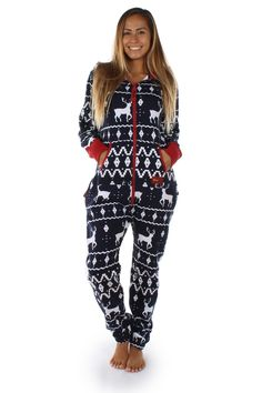 Tired of regular old pajamas? This Christmas themed jumpsuit is perfect for lazing around in during the holidays! Now bring on winter!
