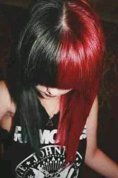 Half black half red hair <3