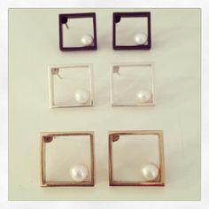 Earrings - Silver, bronze and black + pearl. #CoRo