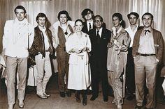 Thierry Mugler, Claude Montana, Jean-Claude de Luca, Anne-Marie Beretta, Jean-Charles de Castelbajac, Mr. Ohno of Shiseido, Melka Tréanton, Dan Béranger, and Jean-Jacques Picart in 1976.