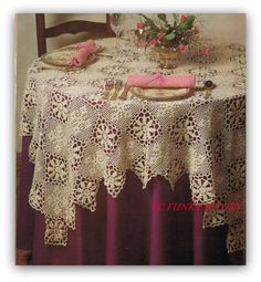 Crochet Table Cloth Pattern Antique Lace Tablecloth Home Decor SIZE: About 56 Square MATERIALS REQUIRED: DMC Cebelia No. 10 - steel crochet hook No. 8 or size required to crochet to gauge. This listing is for the PATTERN ONLY, not the finished item or any materials needed to complete