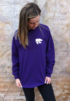 K-State Wildcats Womens Purple Gameday Jersey LS Tee - 16930961 Purple T Shirts, Fashion Outfits, Womens Fashion, Rain Jacket, Windbreaker, Tees, Long Sleeve, Sleeves, Cotton
