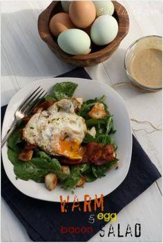 Girlichef - warm egg and bacon and arugula salad Arugula Salad, Egg Salad, April Bloomfield, Healthy Recipes, Salad Recipes, Creative Food, Ham, Salads, Veggies