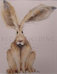 Spring Hares | Becca Fielding Animal Paintings, Animal Drawings, Art Drawings, Bunny Painting, Painting & Drawing, Watercolor Animals, Watercolor Paintings, Watercolors, Illustrations