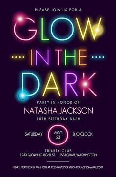 Glow In The Dark Typography Birthday Party Invitation | Teen Birthday Invitation