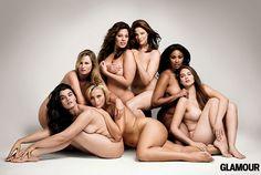 From far left: Crystal Renn, Amy Lemons, Ashley Graham, Kate Dillon, Anansa Sims, and Jennie Runk. Bottom Center: Lizzie Miller.