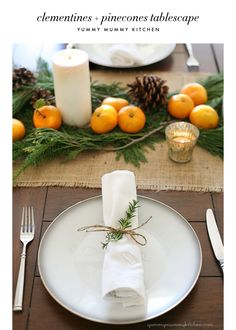 clementine, pinecone, and burlap holiday tablescape