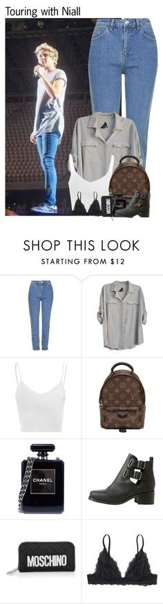 """""""Touring with Niall"""" by chanelniall ❤ liked on Polyvore featuring Topshop, Seneca Rising, Glamorous, Louis Vuitton, Chanel, Moschino and Monki"""