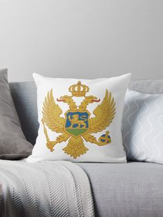 Montenegro coat of arms from the flag of Montenegro. Throw Pillows Bed, Bed Throws, Floor Pillows, Decorative Throw Pillows, Montenegro Flag, Framed Prints, Canvas Prints, Coat Of Arms, Wall Tapestry
