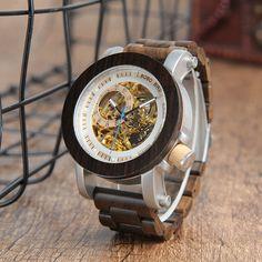 SHERLOCK - Brazilnut Bezel and Band Gold and White Skeleton Face Wood Watch