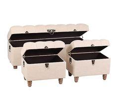 Set de arcón y 2 pufs en madera DM y algodón - natural