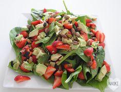 spinazie aardbeien salade vega vegetarisch