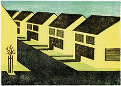 Stadt Land - Franziska Neubert Reihenhaussiedlung, 15 x 21 cm, Linolschnitt