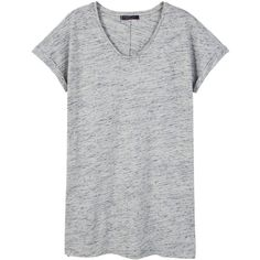 Violeta BY MANGO Flecked Cotton-Blend T-Shirt ($50) ❤ liked on Polyvore featuring tops, t-shirts, v neck tee, short sleeve tops, cotton blend t shirt, side slit top and v-neck tee
