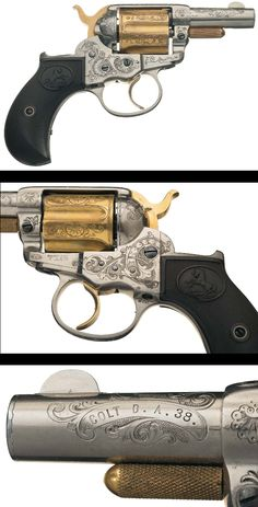 An outstanding, Gustave Young Master Engraved, gold and nickel-plated Colt Model 1877 Sheriff's Model 1877 Lightning double action ejector less revolver.