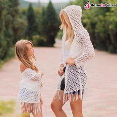 cardigane albe asortate pentru mama si fiica