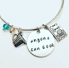 Anyone Can Cook Remy Ratatouille Disney Pixar Inspired Hand Stamped Adjustable Charm Bangle Bracelet #ratatouille #remi #disney #pixar #disneyinspired #anyonecancook #stamped #adjustablebangle #charmbracelet