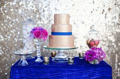 Gold Blue Hot Pink Wedding Dessert Table | photography by http://www.stephaniefayblog.com/ | cake design by http://www.classiccakesandconfections.com/