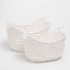 Image 1 of the product White oval basket with strap