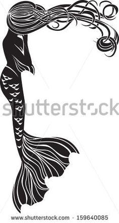 Crying mermaid stencil for stickers in Art Nouveau style by Kristina Birukova, via Shutterstock