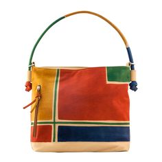 ASTORE BAG Acquerello Natural Geometric -  Genuine Leather - HANDPAINTED Made in Italy