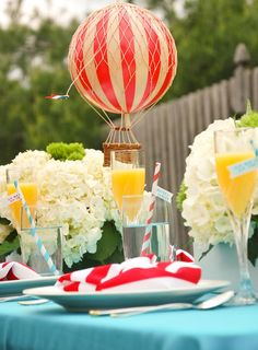 Suess baby shower, but you could also create a hot air balloon party Hot Air Balloon Centerpieces, Baby Shower Balloon Decorations, Baby Shower Balloons, Balloon Party, Hydrangea Centerpieces, Carnival Baby Showers, Baby Shower Parties, Baby Shower Themes, Shower Ideas