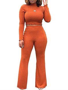 8805bc7cb3f6c Women High Waist Bodycon Wide Leg Jumpsuit 2 Piece Set Long Sleeve Turtle  Neck M
