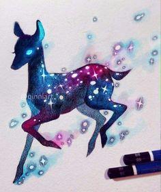 Space Bambi by Qinni Watercolor Disney, Watercolor Art, Animal Drawings, Cool Drawings, Soul Art, Sketch Inspiration, Galaxy Art, Pretty Art, Art Sketches