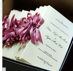pink ribbon wedding programs
