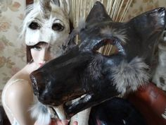 Dances with Wolves Paper mache animal mask wolf mask wolf costume. $68.00, via Etsy.
