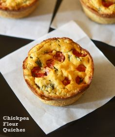 To make these quiches, simply mix chickpea flour with water, olive oil, salt, plus any herbs and spices you like. Add some meat and vegetables of your choice (cooked vegetables work best, or finely chopped/ shredded raw vegetables), ladle into greased muffin cups, and bake. That's it!